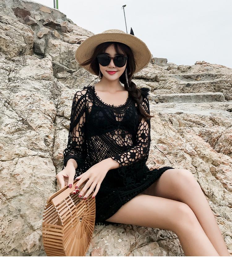 日本防晒沙滩蕾丝比基尼罩罩衣韩国衣女外搭海边度假衫泳衣夏海滩