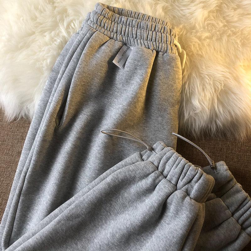 加绒灰色子女秋冬新款直筒宽松卫裤好不好