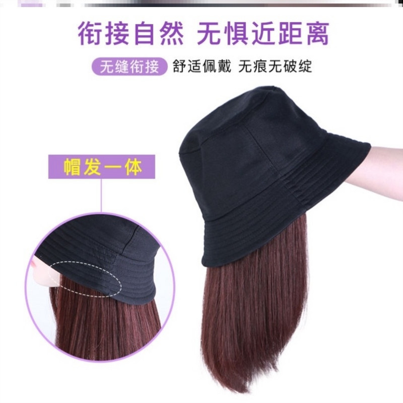 Korean girls wig hat womens medium and long hair mothers chemotherapy bald head special hat womens fashion and natural integration