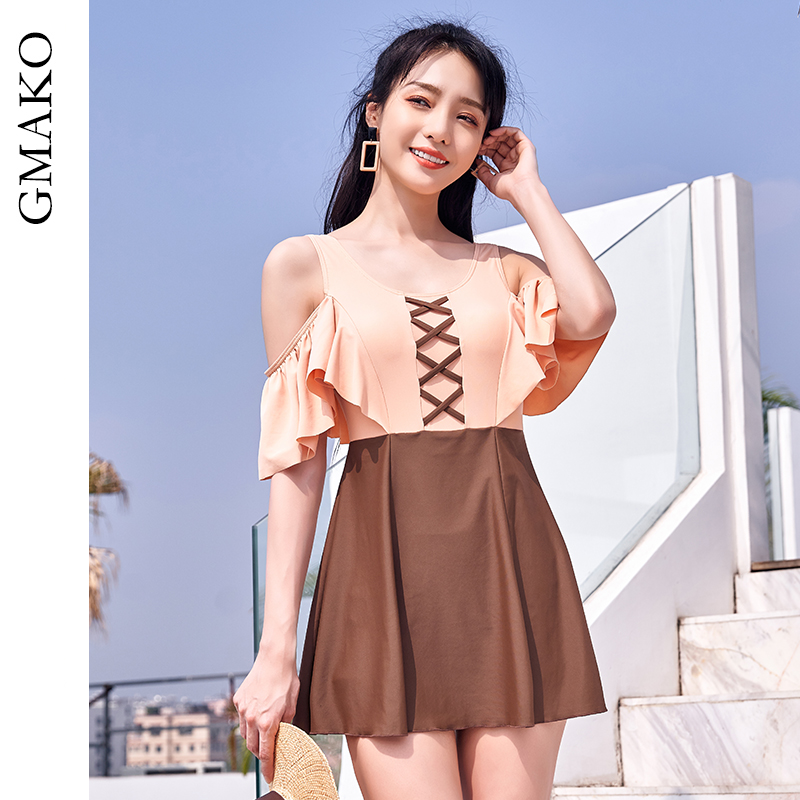 Gmako swimsuit womens 2020 new hot spring open back one-piece skirt and conservative large size belly covered swimsuit swimsuit