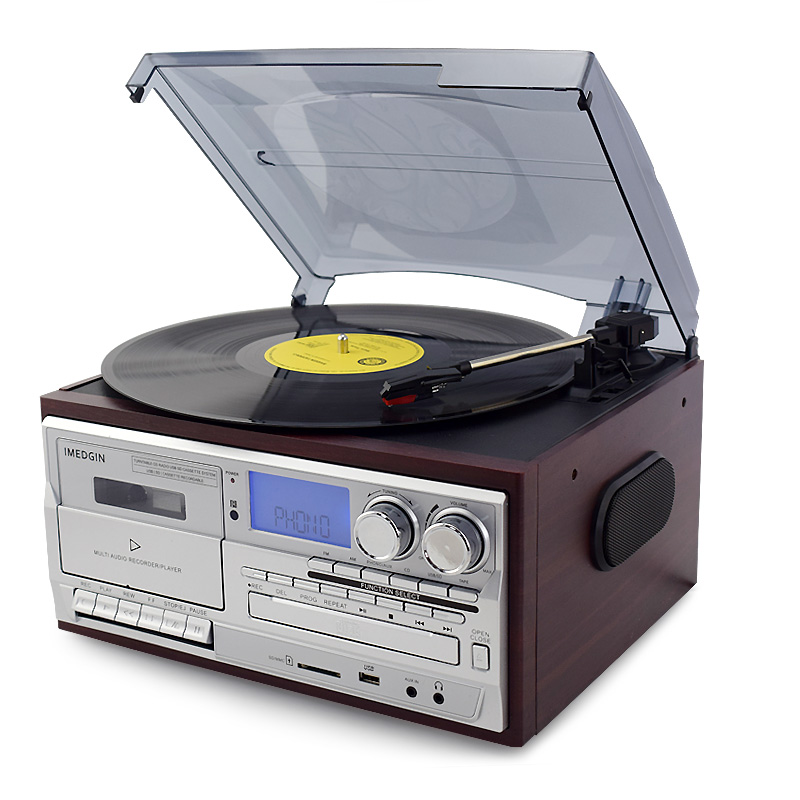 黑胶唱片机复古CD机现代留声机蓝牙USB内置迷你音箱多功能电唱机 Изображение 1