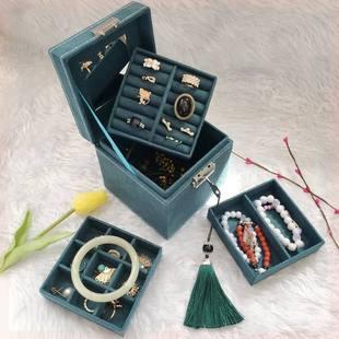 盒子耳环大容量手镯韩版首饰盒戒指首饰收纳盒便携耳饰清新复古送