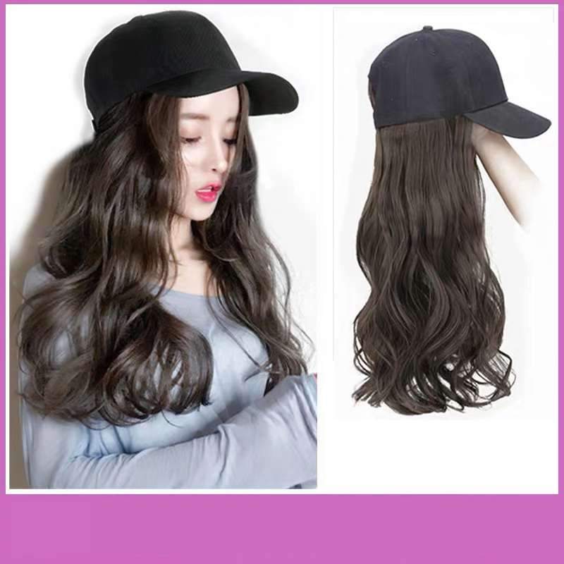 Hair hat integrated real hair wig with hat fashion medium long net red baseball cap long curly hair simulation Natural Korean version