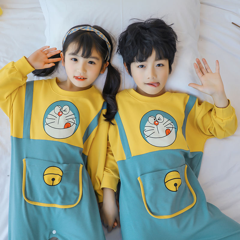Childrens conjoined pajamas spring and autumn cotton long sleeve parent child mother womens clothing boy baby anti kick sleeping bag home clothes