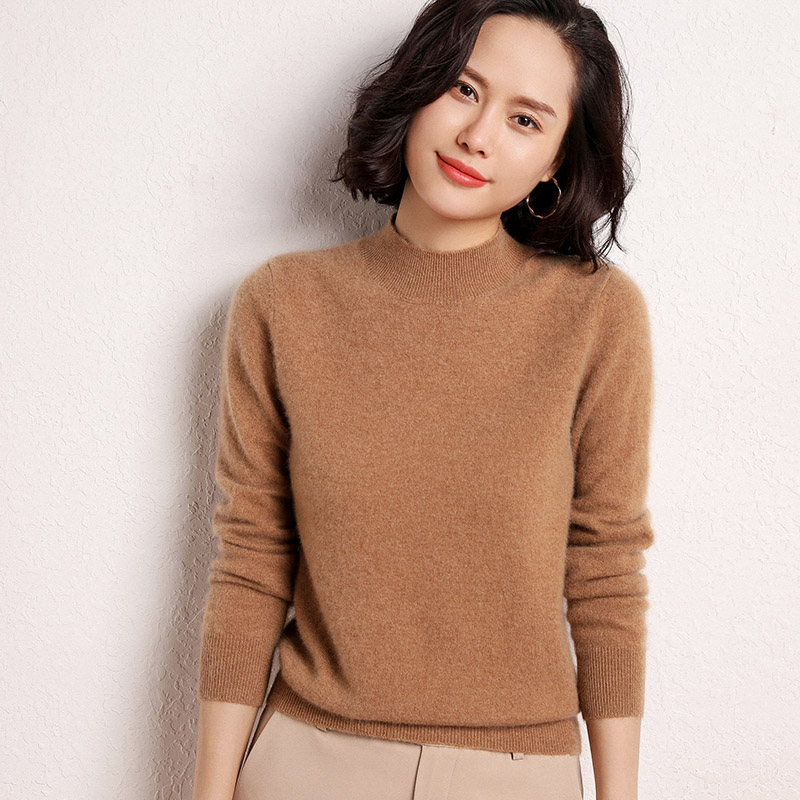 Half high collar cashmere sweater womens Pullover short style autumn / winter 2020 new solid color long sleeve sweater knitted bottoming shirt