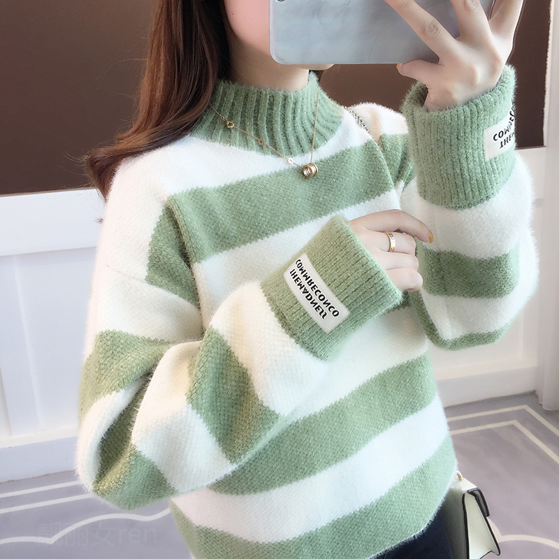 Autumn winter womens sweater bottoming shirt mink Fleece Pullover loose knitted half high collar thickened straight tube stripe long sleeve