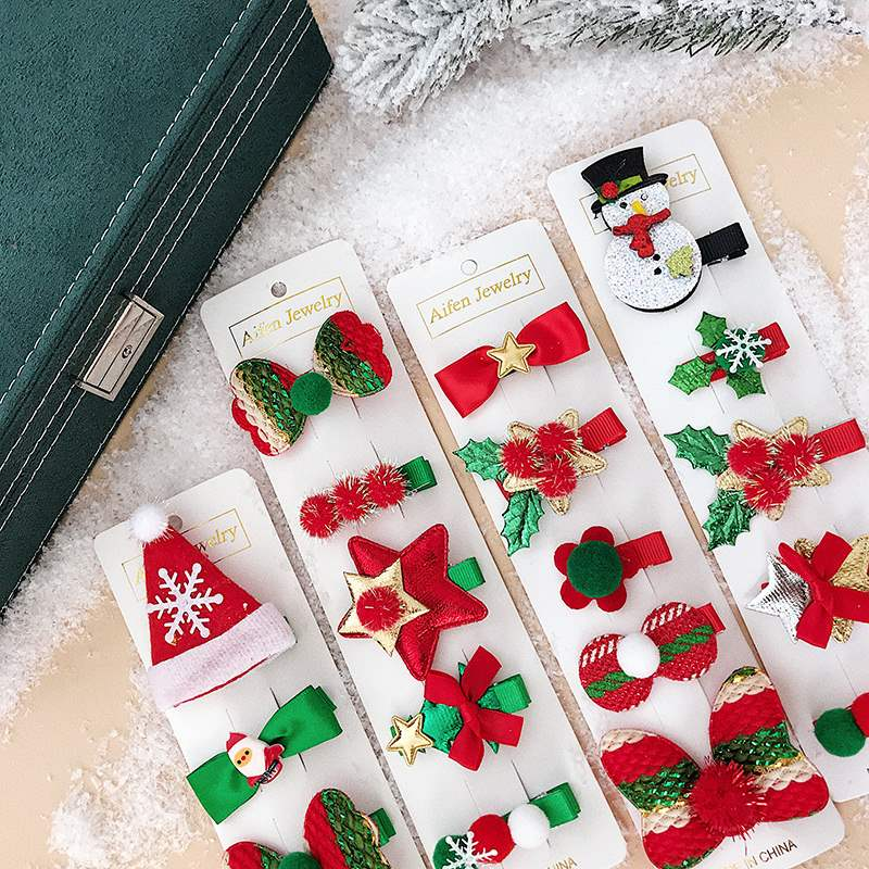 2019 Christmas theme hairpin set socks hairpin headdress adult childrens gift show dress up hair accessories