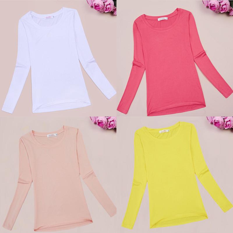 New solid color versatile modal base T-shirt Crew Neck Long Sleeve T-shirt for women