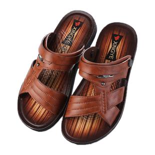 2019夏季新款越南男士凉鞋软底沙滩防滑两用耐磨厚底透气男士拖鞋图片