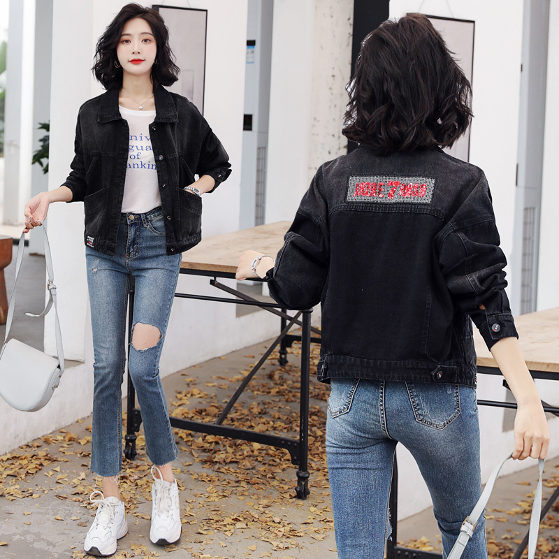 Black Denim Jacket Womens short 2020 spring new Sequin embroidery loose all-around jacket Korean version shows thin trend