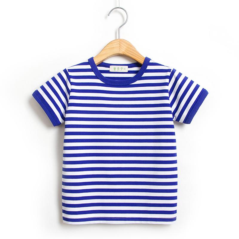 夏季男童女童宝宝海魂衫童装纯棉短袖t恤海军风儿童条纹学生半袖