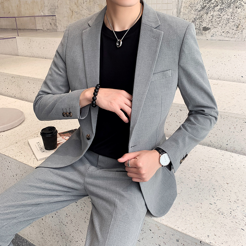 Small suit mens Korean Trend youth slim and handsome suit British style solid color leisure two piece suit