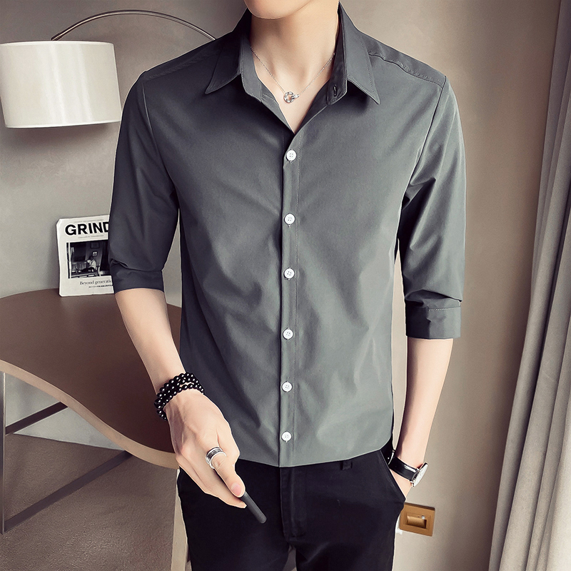 Shirt mens short sleeve slim fitting Korean mens casual 7 / 4 Sleeve Shirt trend handsome half sleeve summer medium sleeve inch shirt