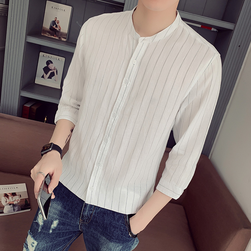 Summer Linen Shirt Mens seven sleeve loose casual middle sleeve cotton linen shirt linen material top mens short sleeve inch shirt