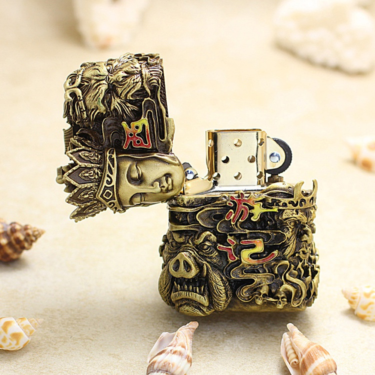New Zippo Lighter genuine zppo genuine luminous armor commemorative mens journey to the West six sided collection