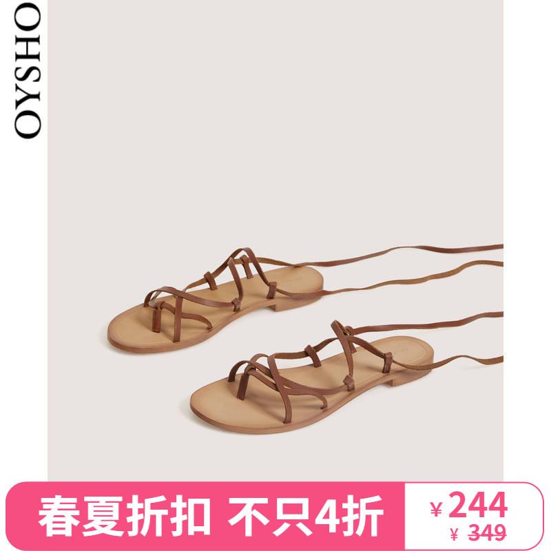 春夏折扣Oysho 皮革帮带凉鞋系带露趾沙滩休闲鞋女 15129061105