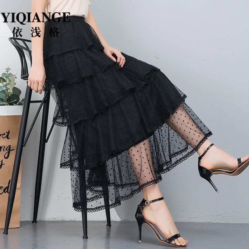 Summer mesh skirt women 2021 new high waist irregular cake skirt medium long yarn skirt lace skirt