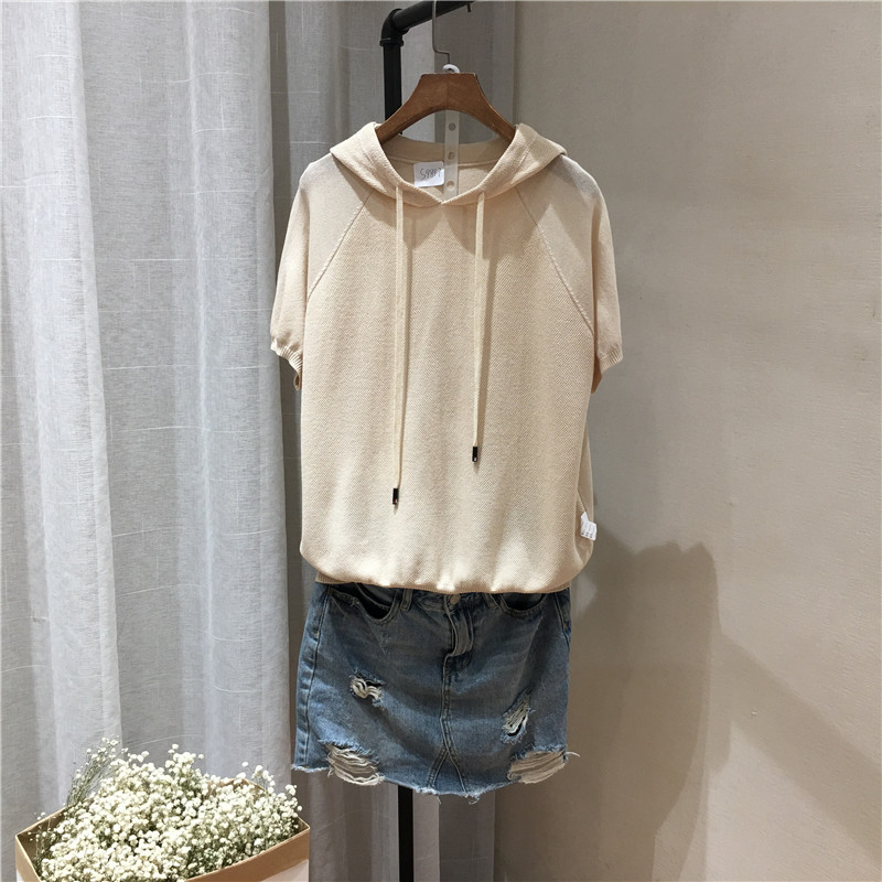 Hemp candy color thin summer T-Shirt Top light board hooded casual Pullover Sweater female student 9897