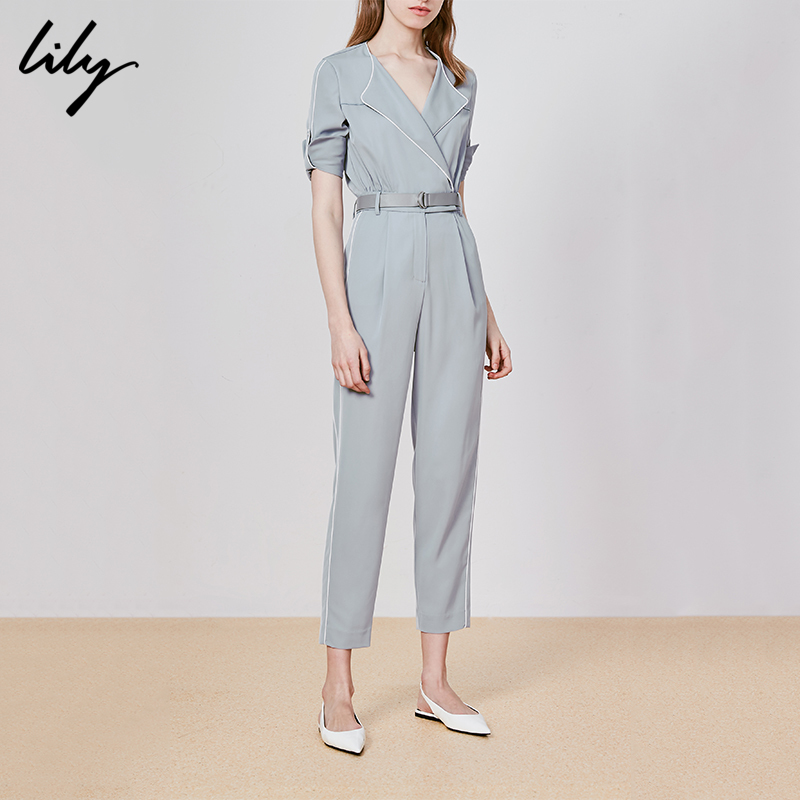 Lily women's handsome business sense Lapel color contrast collection line slim slim one-piece pants
