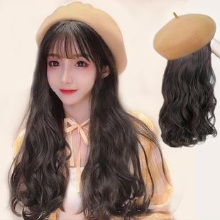 假发女长发网红冬天贝雷帽子假发一体女时尚长卷发大波浪全头套式