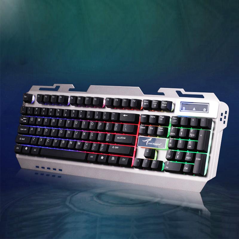 小袋鼠DS-F9蓝色幻影有线游戏炫彩背光19键无冲四档亮度键盘+鼠标
