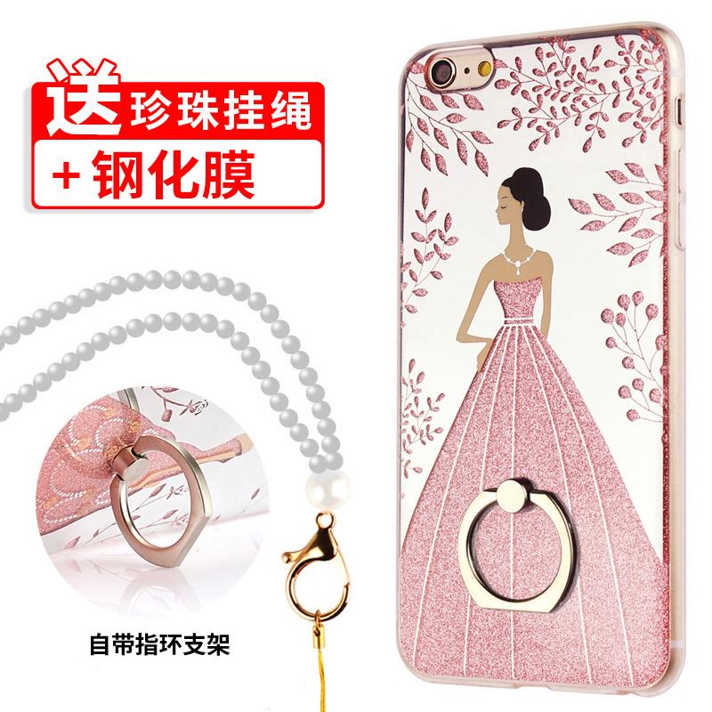 蘋果6手機殼6plus矽膠鑲鑽閃粉6s掛繩日韓女款iphone6防摔保護套