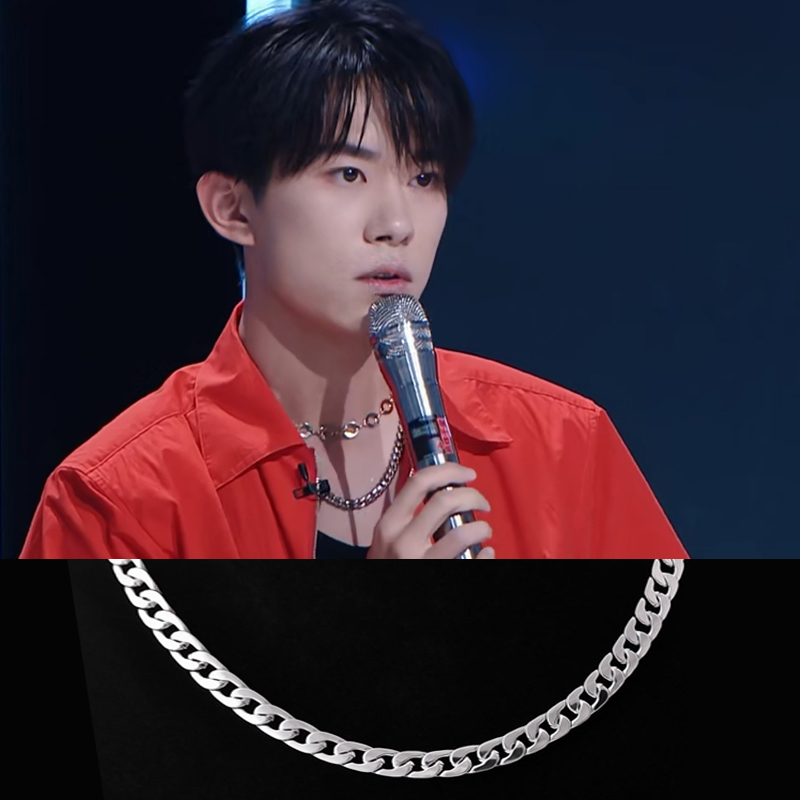 Young famous Necklace easy to close Qianxi wide face thick chain metal hip hop rock cool style chain trendy man