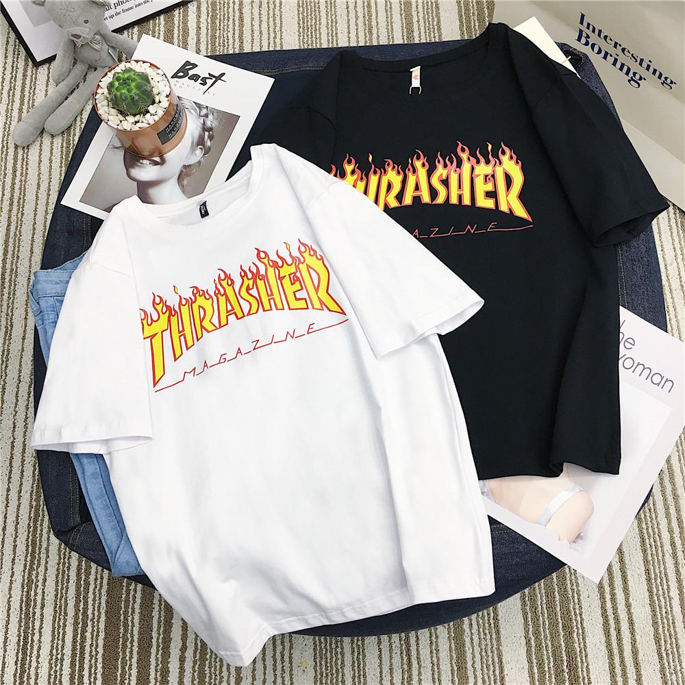 夏chic抖音网红同款火焰字母短袖小清新棉纤上衣纯色打底T恤女装
