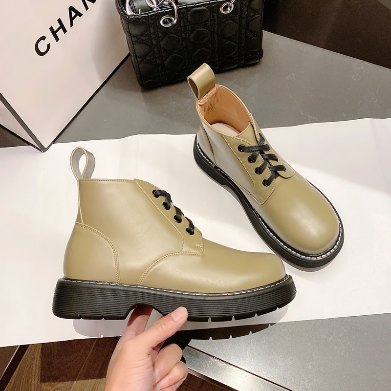 Leather Martin boots womens British style autumn and winter 2021 new flat heel thick bottom increased versatile big head green short boots