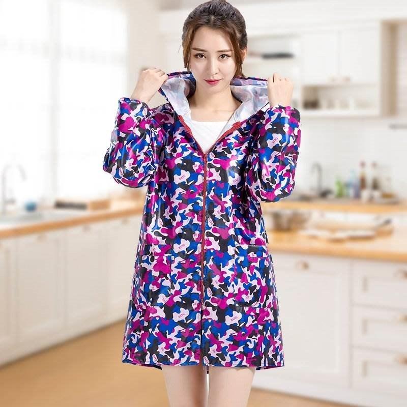 日本袖连帽拉链工作服护衣水防油厨房做饭围裙长罩衣成人女家用轻