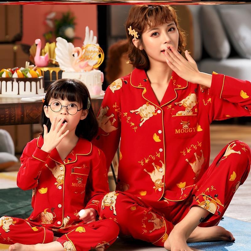 カップル親子秋季家庭服女の子セット新年おめでとうございます。