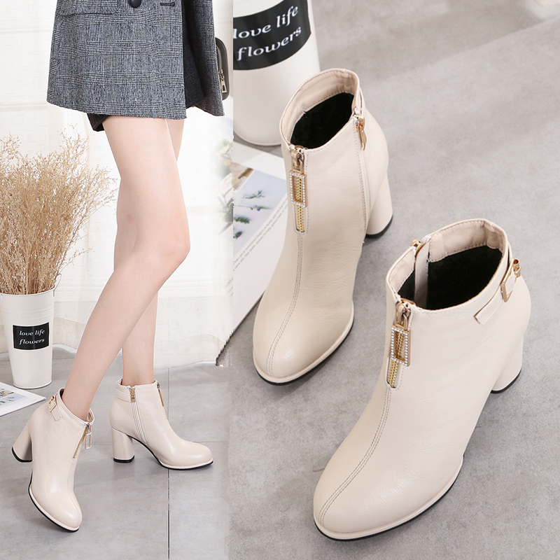 Front zipper Martin boots womens 2019 new British style thick high heel thin boots versatile short boots show thin net red