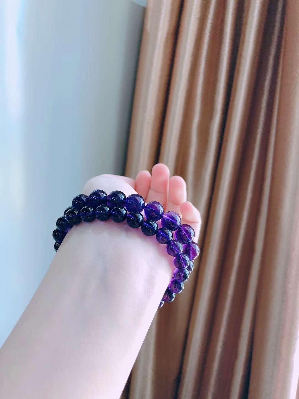2020新品紫色水晶手链女乌拉圭紫晶原石礼物转运学生助力学业手串