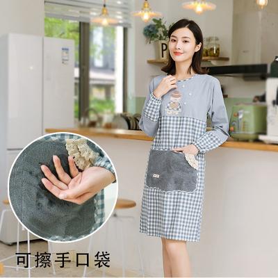 围裙厨房家用时尚可擦手防水防油可爱日系薄款夏天长袖罩衣大人女