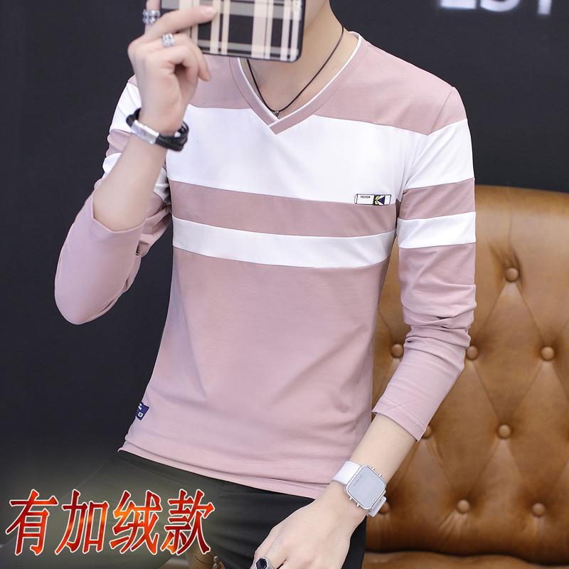 秋季长袖T恤男V领男服装全棉打底衫青少年学生韩版秋衣上衣服�B��