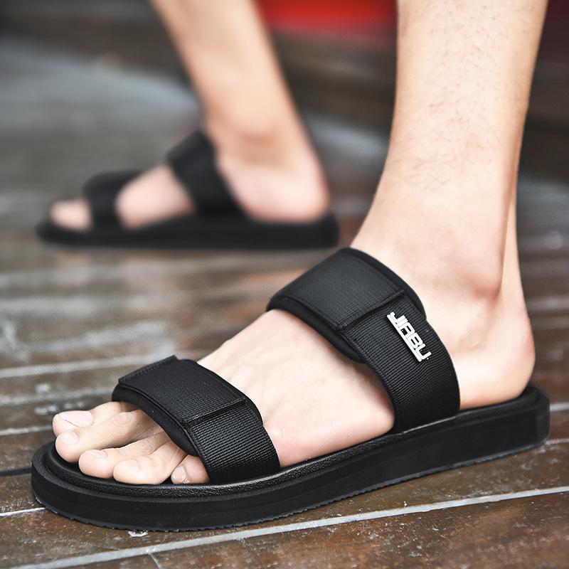 时尚潮流越南拖鞋 户外休闲平底一字拖露趾透气布面织带沙滩拖鞋