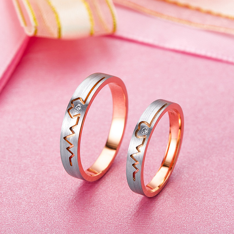 Modern rose gold couple ring mens and womens 18K diamond pair ring wedding pair ring engagement ring customized