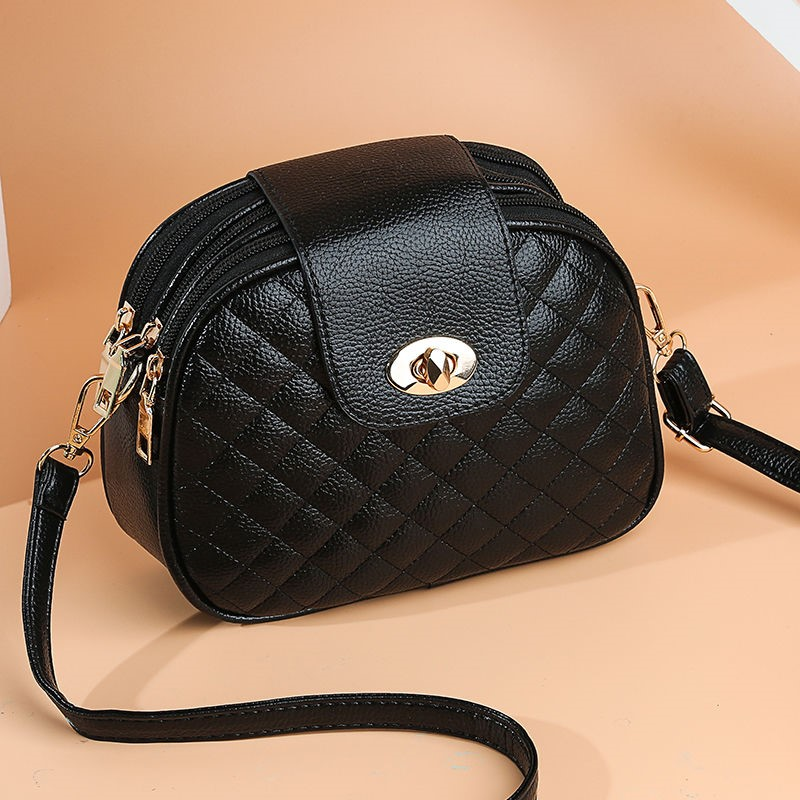 Round bag 2020 spring and summer small shoulder bag womens carrying small fashion three-layer single female oblique New Bag Mini female lattice bag