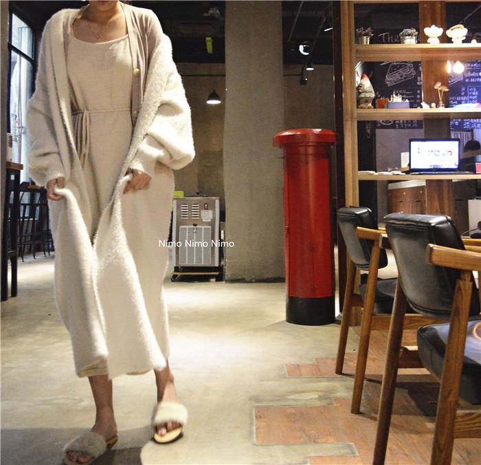 Mink like coat medium length loose sweater womens thickened autumn and winter wear 2020 new mink like coat cardigan