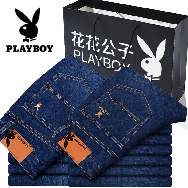 Spring and summer Playboy jeans mens elastic straight tube loose mens business slim middle aged mens long pants