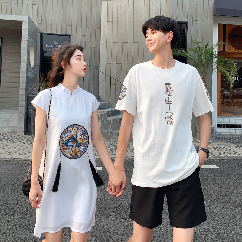 Couples summer dress one skirt one dress new Chinese style embroidery versatile dress female short sleeve student retro top