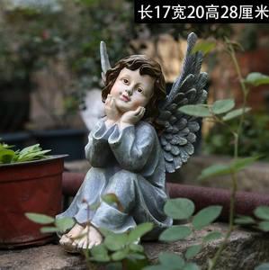 花园庭院装饰品雕塑可爱石膏像摆件天使小号人物雕像天使花盆