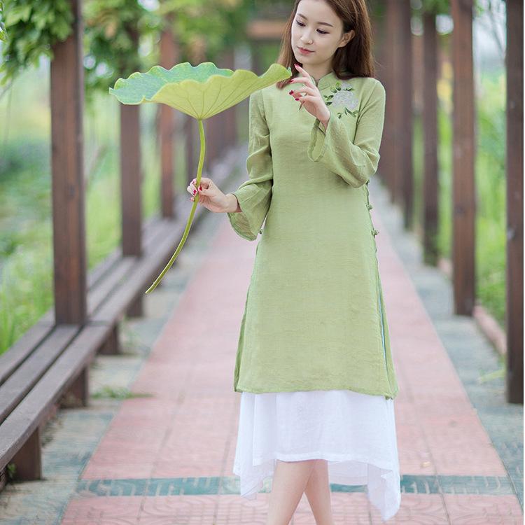 蝶物品起念2017原创设计手绘复古修身文艺范长袖连衣裙女装