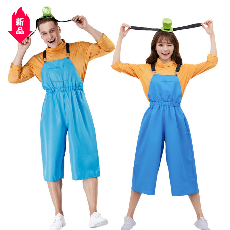 Japanese animation cartoon goofy cos cute dog role-playing suit suspender suit couple stage suit