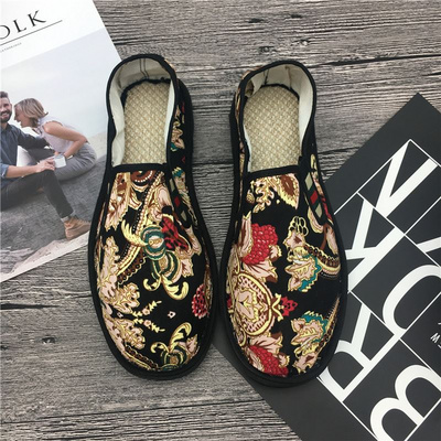 Cattle tendon soled shoes lazy man winter casual shoes social deodorant breathable pattern shoes cloth shoes mens face canvas shoes