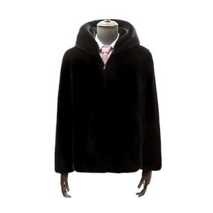 新款海寧貂皮大衣男士整貂短款連帽大碼仿水貂毛皮草外套冬季男裝