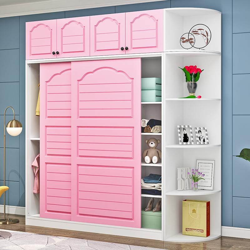 簡約現代衣柜推拉滑移門臥室實木板式簡易組裝大衣櫥柜子經濟型