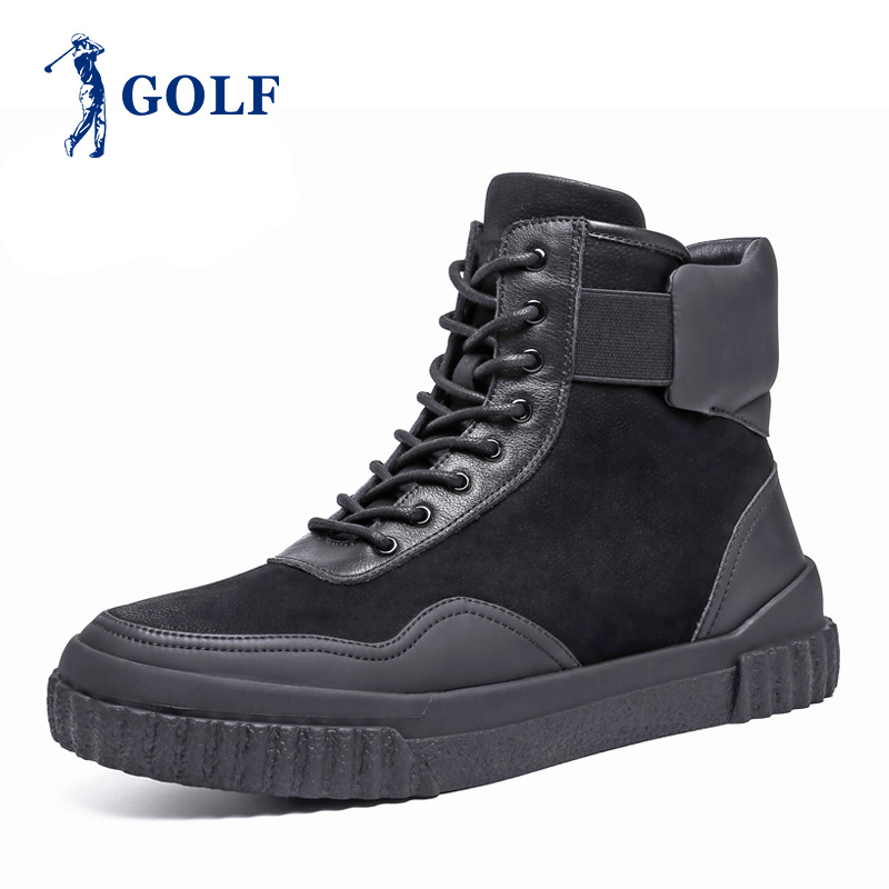 Golf outlets boots winter thick bottom anti slip lace up high top shoes men versatile Leather Boots Men