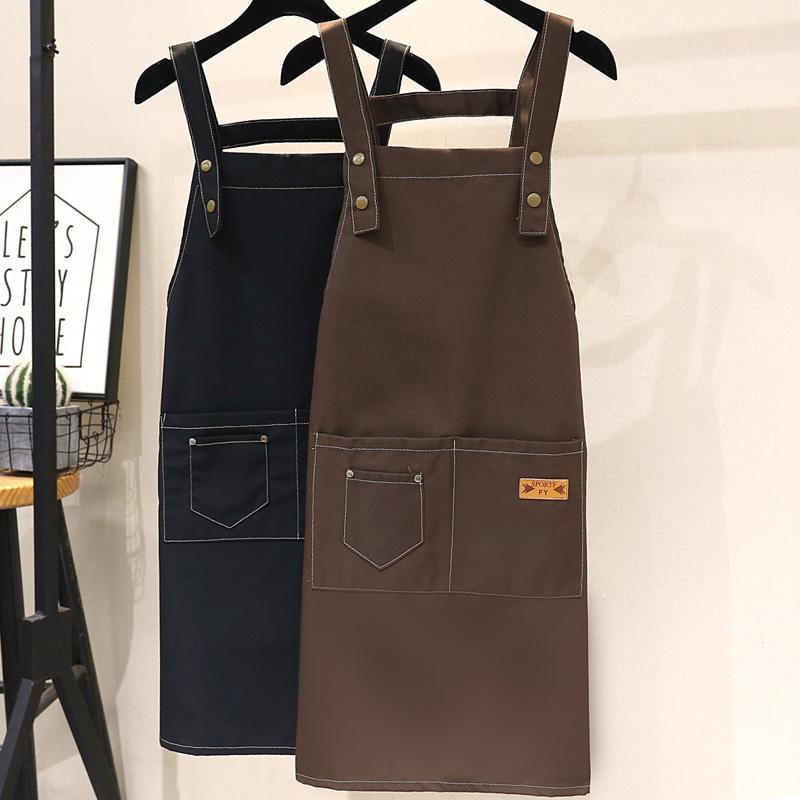 エプロンカスタムロゴプリント綿ネイルショップの女性スーパーの焙煎オーダーメードファッション広告スタッフ