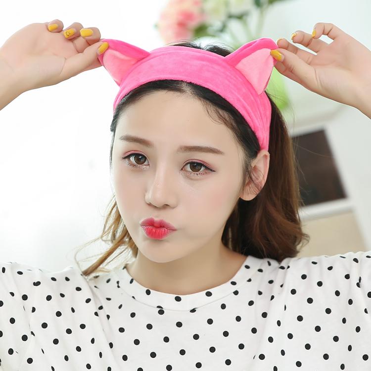 洗脸发带女化妆头带面膜束发带韩国发饰绒布可爱鹿角卖萌发箍头套